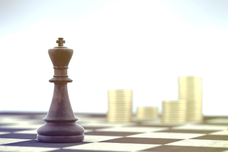 Chess King planes at business strategy over chessboard on white background.