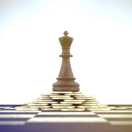 Successful Chess King on money stack over chessboard on white background. Banco de Imagens