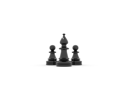 Two pawns follow to Bishop leader on white background Banco de Imagens