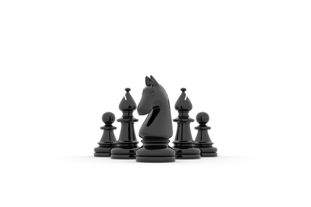 Knight leads Two bishop and two pawns on white background Banco de Imagens