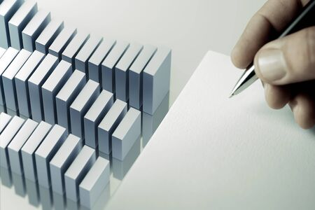Business analysis service - bar-chart on a blue desk with with copy-space