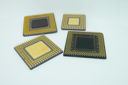 closeup old cpu processor on White background Stock Photo