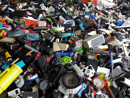Pile of used Electronic and Housewares Waste Division broken or damage for Reuse and Recycle