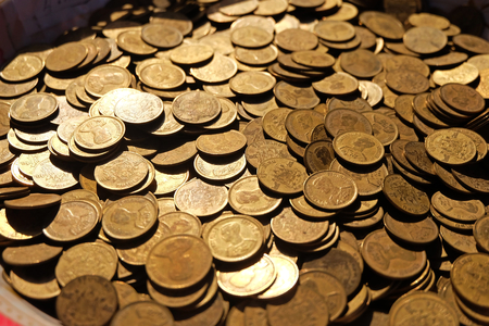 many old coins at Afternoon beautiful light