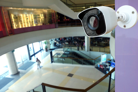 Closeup CCTV Camera of security In blurred shopping mall building Banco de Imagens - 108989295