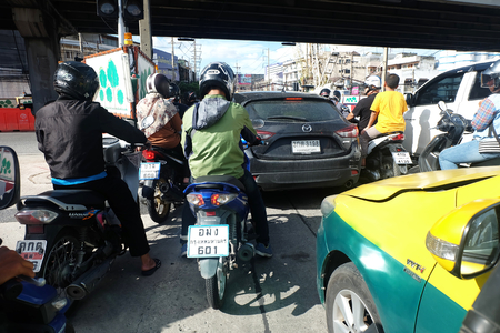 BANGKOK, THAILAND - September 30, 2018 Traffic jam from the view of driver motorcycle Editorial