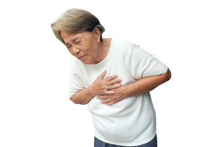 Elderly asian woman with chest pain with heart attack isolated on white background 写真素材 - 114796369