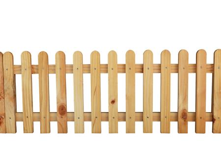 Beautiful wooden fence isolated on white background