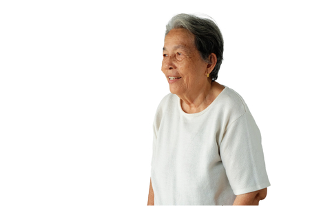 Portrait of elderly asian woman with a smile isolated on white background, happy and good health concept Imagens