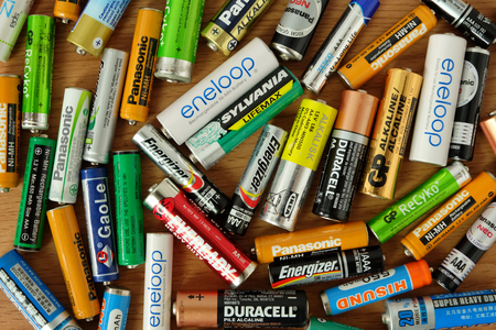 Bangkok, THAILAND - April 14, 2019 Used batteries many different brands, Electronic waste is harmful to the environment. Editorial