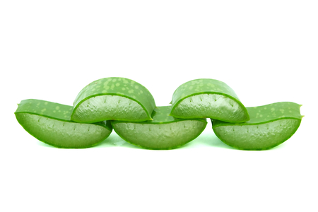Fresh sliced aloe vera with water drops, isolated on a white background