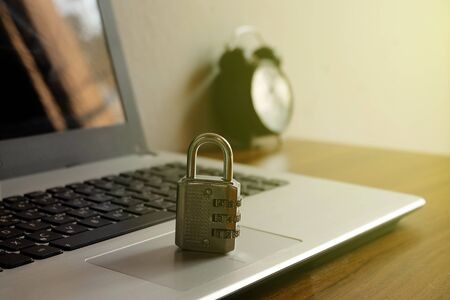 Code-locked padlock on the laptop computer. internet security and Computer security Concept. 스톡 콘텐츠 - 139937753