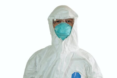Men in half protective clothing uniform and Surgical mask or hygienic mask N95 isolated on white background, During coronavirus covid-19 outbreak, Concept of pandemic virus