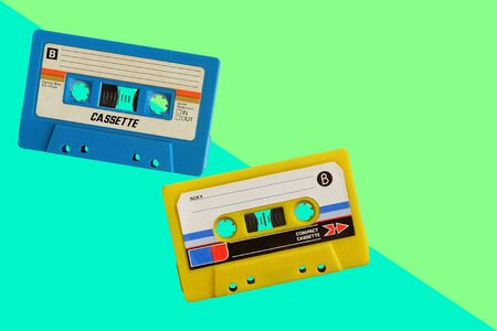 Old colorful cassette tape on wooden floor and leave blank space above for text input 스톡 콘텐츠 - 145867181