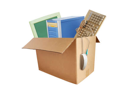 Old and obsolete desktop computer hardware accessories, Electronic waste in paper boxes isolated on white background, Reuse and Recycle concept.