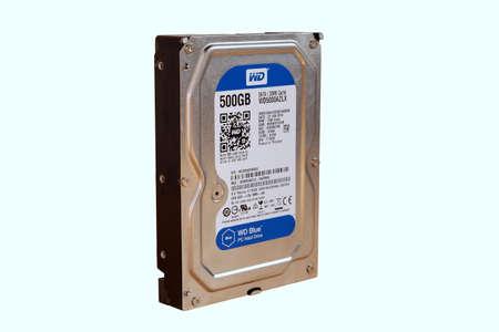 Bangkok, Thailand - January 27, 2021 Hard Disk PC 3.5 SATA-III WD BLUE 500GB. isolated on white background