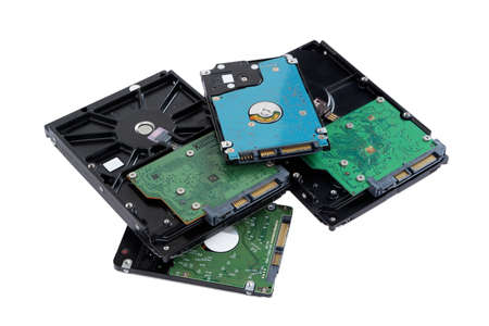Pile of hard disk drive for Desktop pc Computer and laptop isolated on white background