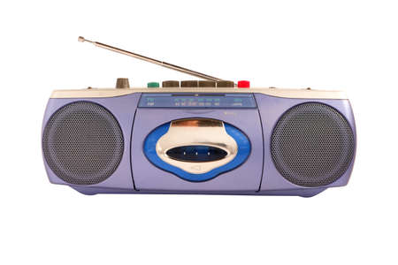 Blue radio cassette tape recorder with antenna isolated on white background Stockfoto