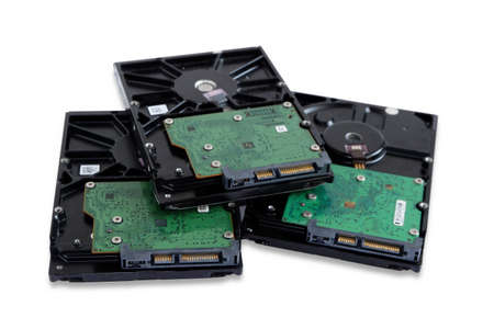 Pile of hard disk drive for Desktop pc Computer isolated on white background