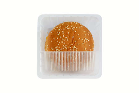 Top view of hamburger buns in plastic box isolated on white background, Disposable plastic containers are an environmental problem. 스톡 콘텐츠