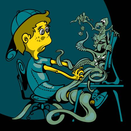twists: The boy sits at the computer. Monitor crawling with monsters and game characters Illustration