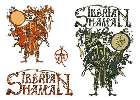 shaman: Siberian shaman and the title Siberian shaman. Vector illustration. Isolated on white background