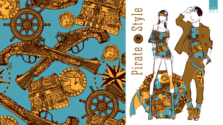 flint gun: Seamless pattern with various pirate elements. Vector illustration of a young stylish girl and guy