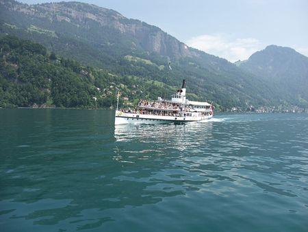 The ship floats on lake photo