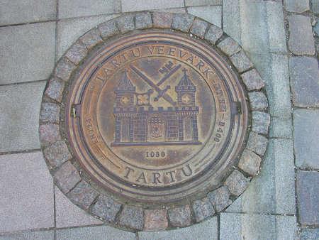 A manhole cover in Tartu photo