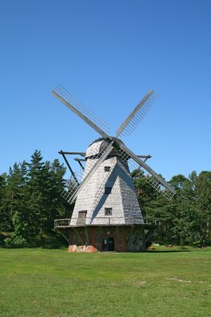 Front view of a typical windmill. Latvia.