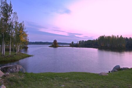 hdr background: Twilights on a beautiful river bank. Image processed for HDR (High Dynamic Range Color).