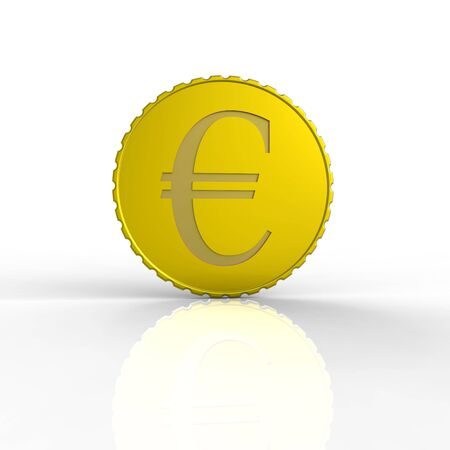 digitally generated: 3d rendered gold euro coin on a white background. 4000x3000 pixels. Stock Photo