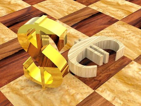 conquering: 3D golden dollar symbol near fallen wooden euro Stock Photo