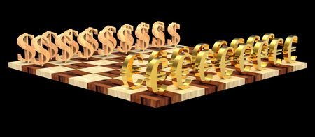 conquering: 3D golden euro symbols against wooden dollar symbols on the chess board
