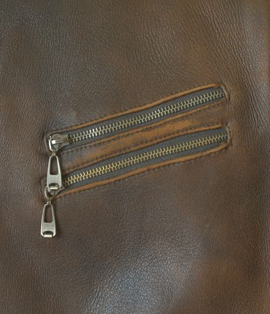 pocket with zip of a brown leather jacket. Very detailed and real... photo