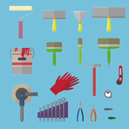 putty knife: Set of finishing tools vector illustration in flat style