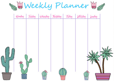 classes schedule: Tropical Weekly and Daily Planner Template. Organizer and Schedule with Notes and To Do List. Vector. Isolated. Trendy Holiday Summer Concept with Graphic Design Elements Illustration