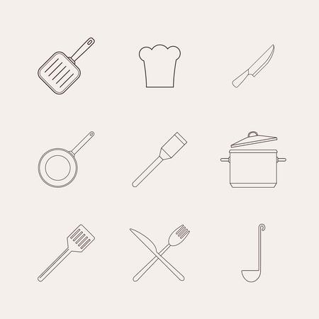 Kitchen and restaurant icon kitchenware set. Vector illustration.