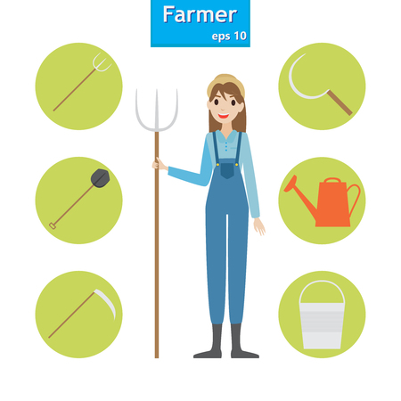 Woman farmer in the village. A set of farm elements. Vector illustration.