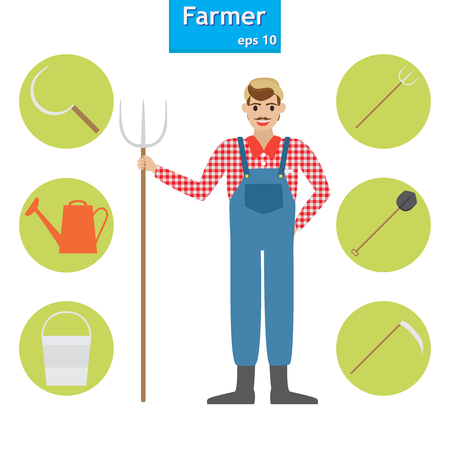 farmer in the village. A set of farm elements. Vector illustration. 向量圖像