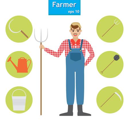 seeding: farmer in the village. A set of farm elements. Vector illustration. Illustration