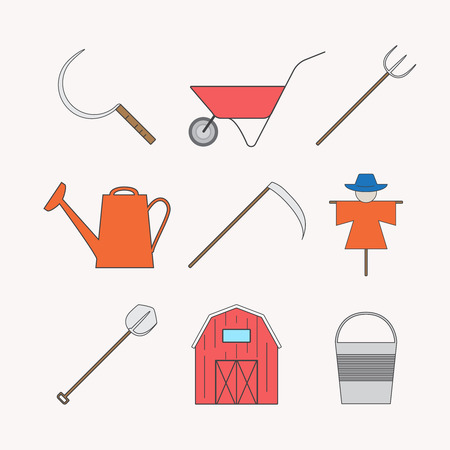 seeding: Agricultural icons with different farming and eco product harvesting design elements.