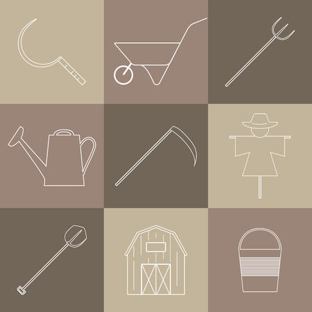 Agricultural icons with different farming and eco product harvesting design elements.