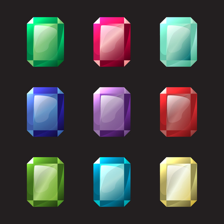 sapphire gemstone: Set of octagon different color crystals, gemstones, gems, diamonds vector gui assets collection for game design. Isolated vector elements. Gui elements, vector games assets. Menu for mobile games