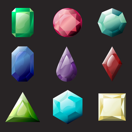 Set of different color and shapes crystals, gemstones, gems, diamonds vector gui assets collection for game design. Isolated vector elements. Gui elements, vector games assets. Menu for mobile games