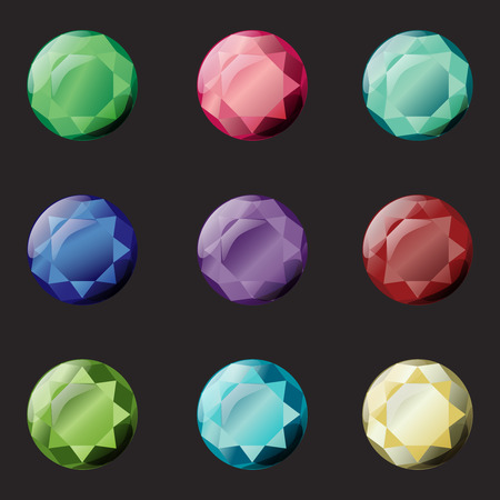 Set of different color crystals, gemstones, gems, diamonds vector gui assets collection for game design. Isolated vector elements. Gui elements, vector games assets. Menu for mobile games
