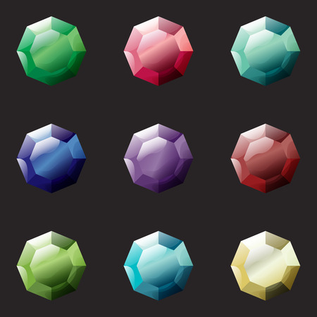 Set of octagon different color crystals, gemstones, gems, diamonds vector gui assets collection for game design. Isolated vector elements. Gui elements, vector games assets. Menu for mobile games