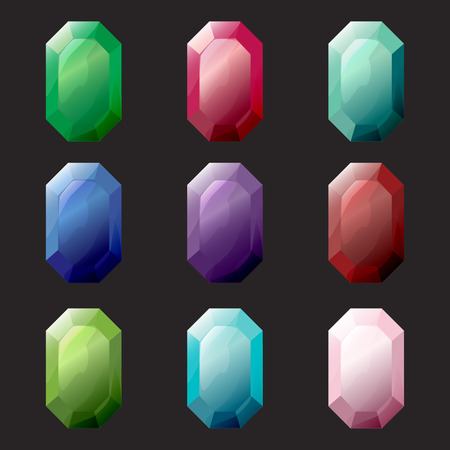 octagon: Set of octagon different color crystals, gemstones, gems, diamonds vector gui assets collection for game design. Isolated vector elements. Gui elements, vector games assets. Menu for mobile games