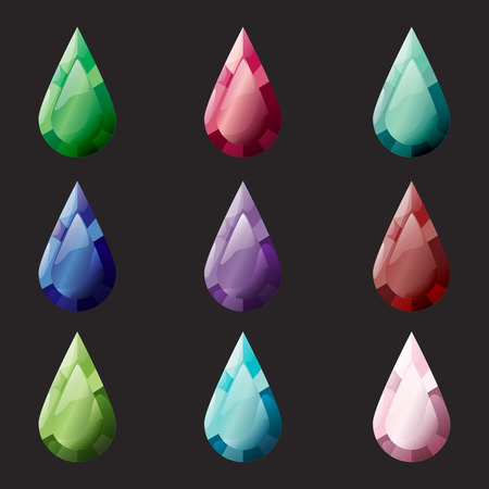 Set of rhombus different color crystals, gemstones, gems, diamonds vector gui assets collection for game design. Isolated vector elements. Gui elements, vector games assets. Menu for mobile games Illustration