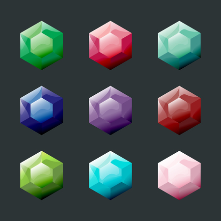 Set of hexagon different color crystals, gemstones, gems, diamonds vector gui assets collection for game design. Isolated vector elements. Gui elements, vector games assets. Menu for mobile games